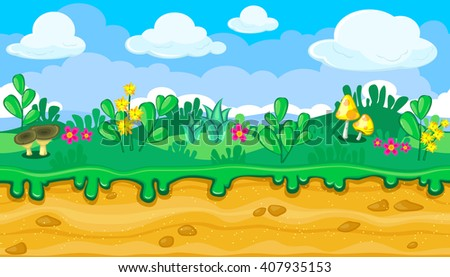 Seamless horizontal summer background with bright cartoon mushrooms for video game - stock vector