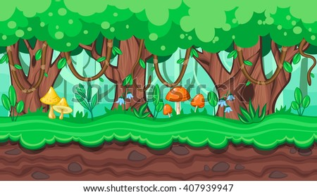 Seamless horizontal summer background with old trees and bright mushrooms for video game - stock vector
