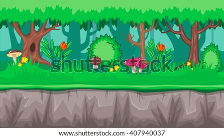 Seamless horizontal summer background with pink mushrooms and red flowers for video game - stock vector