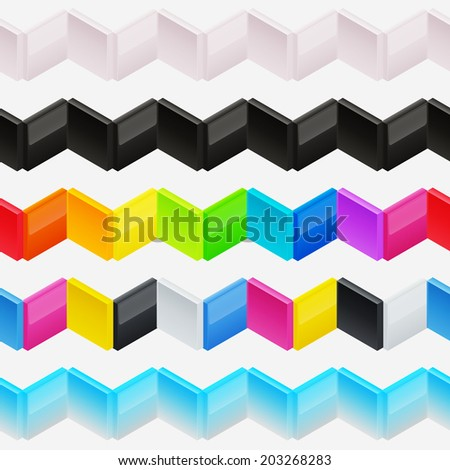 Seamless horizontal vector ornament made of colorful glossy blocks, shading and color layers are separated, easy to edit - stock vector