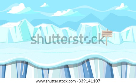 Seamless horizontal winter background with icy mountains for video game - stock vector