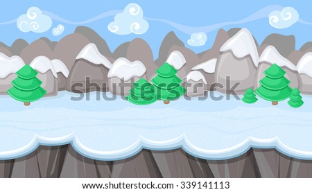 Seamless horizontal winter background with round mountains for video game - stock vector