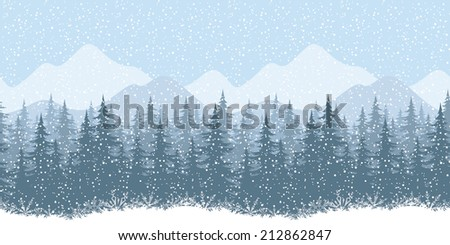 Seamless horizontal winter mountain landscape with fir trees and snow, silhouettes. Eps10, contains transparencies. Vector - stock vector
