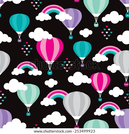 Seamless hot air balloon rainbow cloud hearts and sky illustration retro style background pattern in vector - stock vector