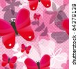 Seamless hot pink butterfly pattern with polka dot texture in vector - stock vector