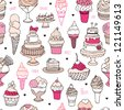 Seamless ice cream and candy cake background pattern in vector - stock vector