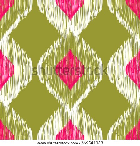 Seamless ikat pattern in pink and khaki colors. Vector tribal background - stock vector