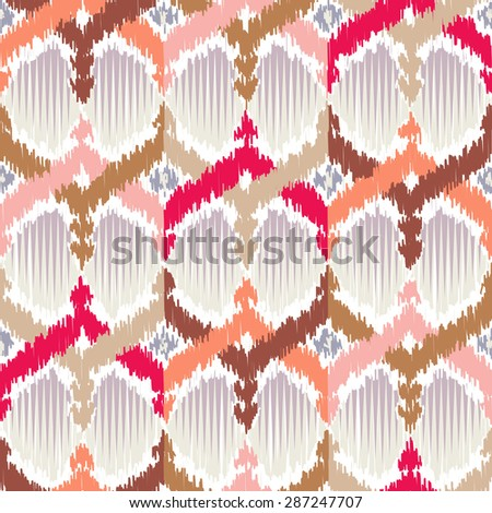 Seamless Ikat Pattern. Shapes in Scribble Style. Tangled Background for Textile Design. Rough Edges - stock vector