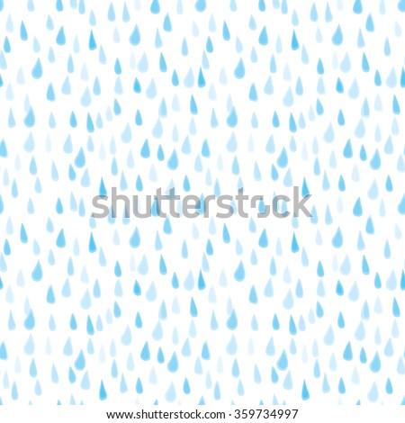 Seamless illustrated pattern made hand drawn rain drops - stock vector