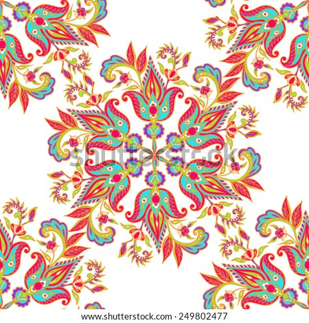 Seamless Indian Decorative Pattern. Decorative elements. Hand drawn background. - stock vector