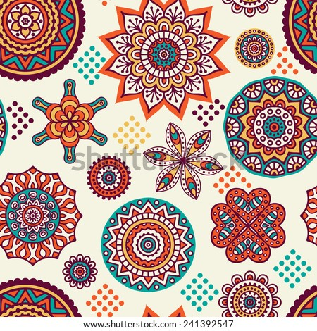 Seamless indian pattern. Vintage decorative elements. Hand drawn background. Islam, Arabic, Indian, ottoman motifs.  - stock vector