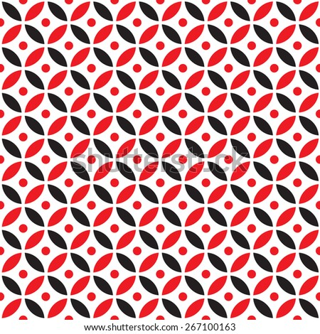 Seamless Intersecting Geometric Vintage Red and Black Circle Pattern - stock vector