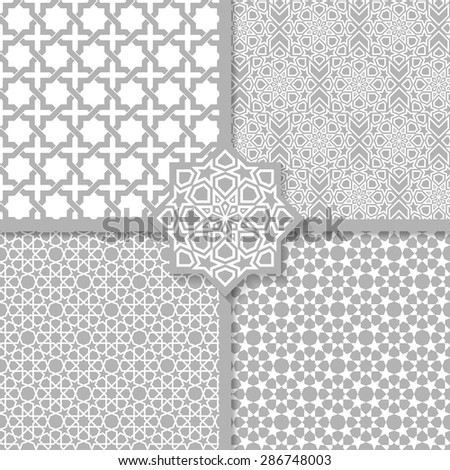 Seamless Islamic patterns set - stock vector