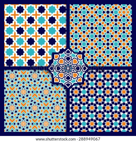 Seamless Islamic patterns set in color. Vector geometrical texture - stock vector