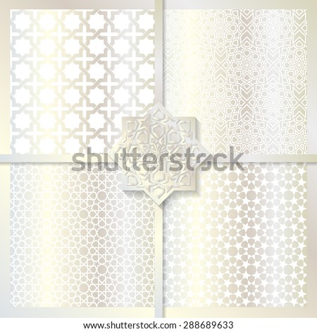 Seamless Islamic patterns set in silver color. - stock vector