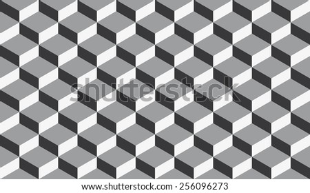 Seamless isometric flattened cubes optical illusion pattern vector - stock vector