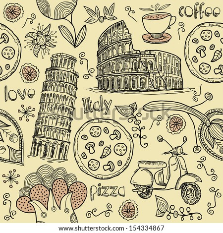 seamless italy. background to the Colosseum, Leaning Tower, pizza and scooter  - stock vector