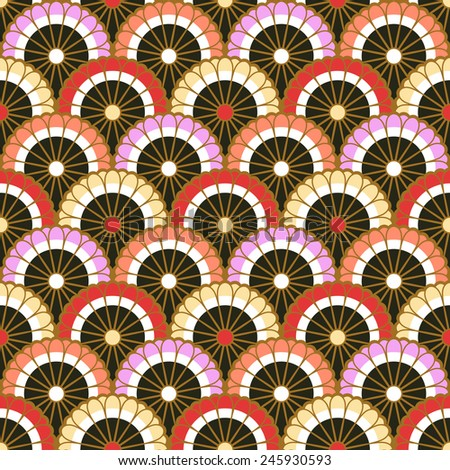 seamless japanese scallop floral pattern - stock vector