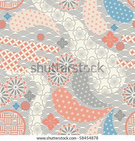 Seamless japanese style pattern. illustration vector. - stock vector