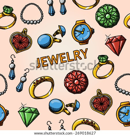 Seamless jewelry handdrawn pattern with- rings, diamonds, watch, earrings, pendant, cuff links, necklace. Vector - stock vector