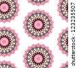 Seamless kaleidoscope floral pattern - stock vector