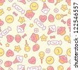 Seamless kawaii pattern with cute cakes. - stock vector