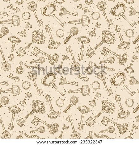 Seamless keys pattern. Various vintage keys in sepia. Sketch texture. - stock vector