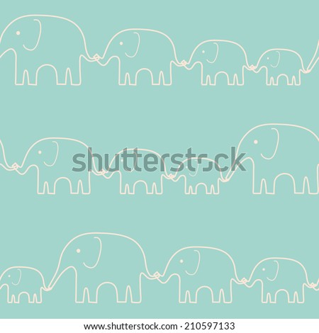 Seamless kid pattern with elephants - stock vector