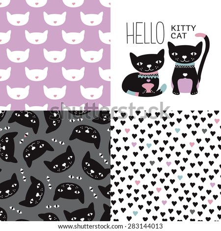 Seamless kids colorful girls kitten and cats postcard cover design and background pattern set with violet kitten hearts and halloween night black cats in vector - stock vector