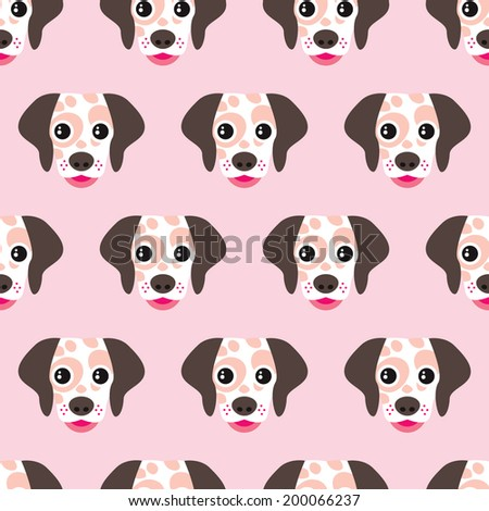 Seamless kids dalmatian puppy pattern cute dog illustration background pattern in vector - stock vector