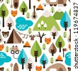 Seamless kids nature safari trip and wild animals background pattern in vector - stock vector