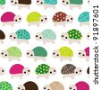 Seamless kids pattern retro turtle animal background in vector - stock vector