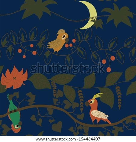 Seamless kids pattern with cute cartoon tropical parrots - stock vector