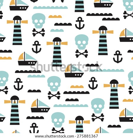 Seamless kids pirate skull and ship marine waves illustration background pattern in vector - stock vector