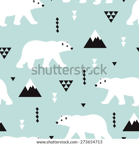 Seamless kids polar bear and geometric mountain arctic winter wonderland illustration pattern in ice blue background in vector - stock vector