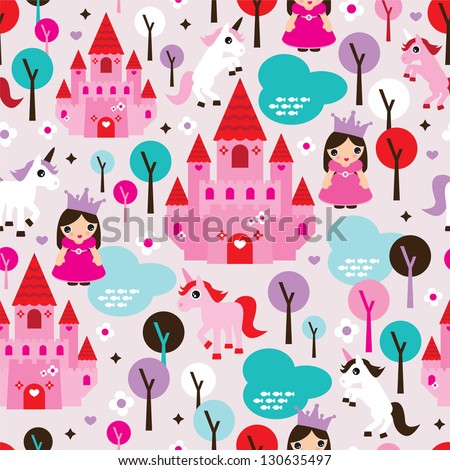 Seamless kids princess castle and unicorn illustration background pattern in vector - stock vector