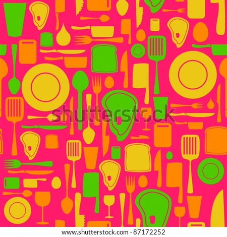 Seamless kitchen and cooking repeat pattern - 2 - stock vector