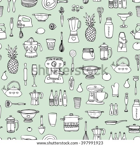 Seamless kitchen cooking baking chef and food theme illustration Scandinavian style background pattern in vector mint - stock vector