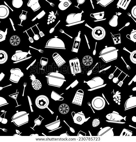Seamless kitchen pattern - stock vector