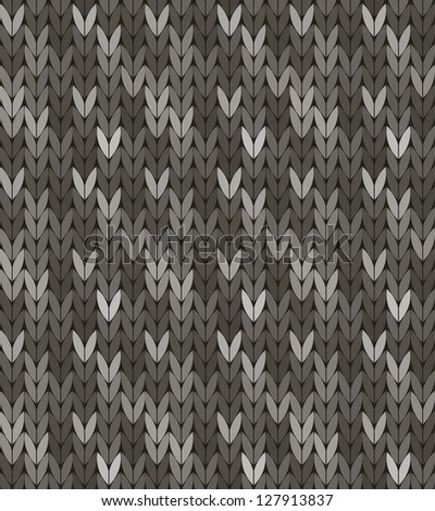Seamless knit pattern in grey colorway - stock vector