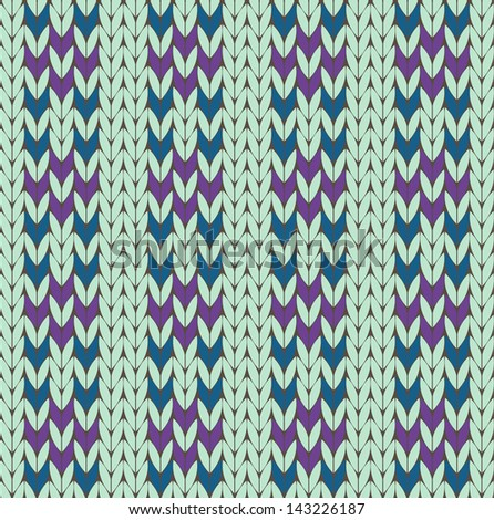 Seamless knit pattern with ornament - stock vector