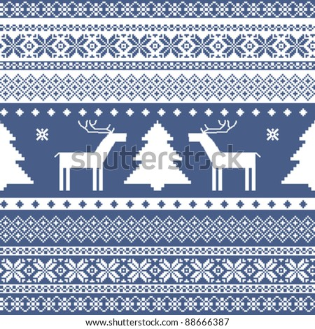 Seamless knitted ornamental pattern traditional christmas motifs - stock vector