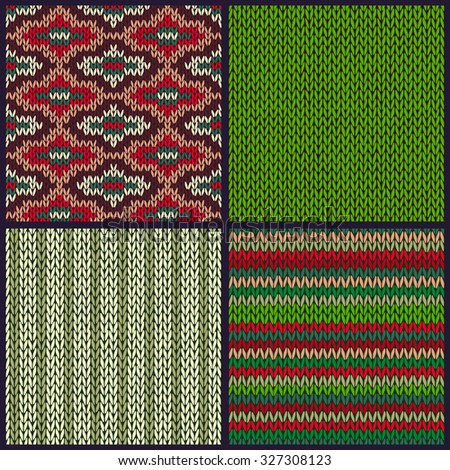 Seamless Knitted Pattern. Set of Christmas Samples. Collection of Red Green White Color Winter Backgrounds - stock vector