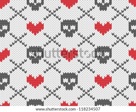 Seamless knitted pattern with skulls and hearts. EPS 10 vector illustration. - stock vector