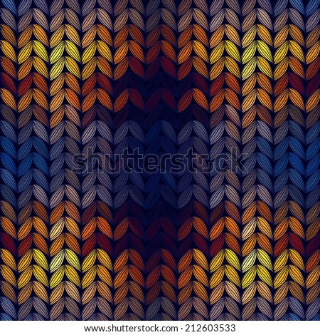 Seamless knitted sunset pattern, vector illustration. - stock vector