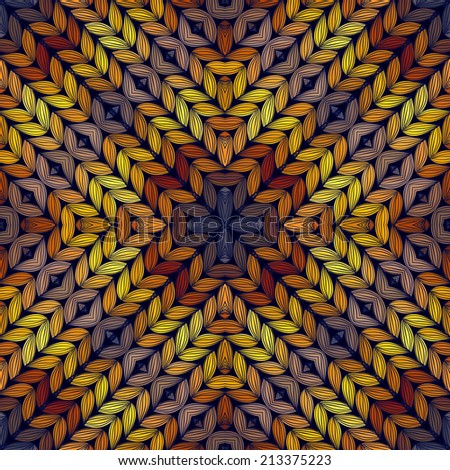 Seamless knitted sunset pattern, vector illustration - stock vector