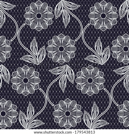 Seamless lace vector background with flower pattern. - stock vector