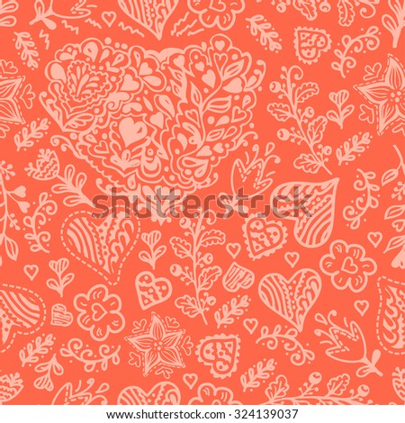 Seamless lacy valentines pattern can be used for wallpaper, pattern fills, web page background,surface textures. Seamless lacy background. - stock vector