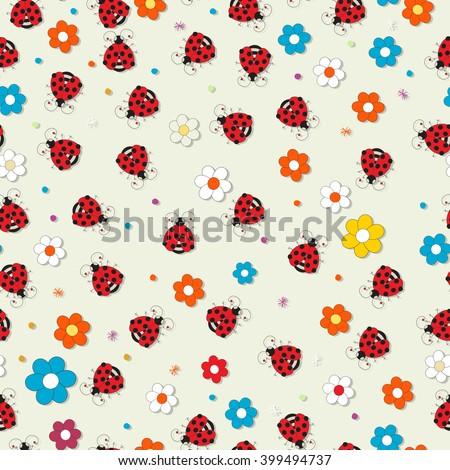 Seamless ladybug vector pattern - stock vector