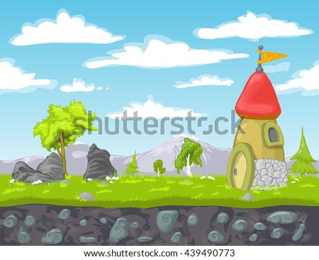 Seamless landscape with green grass, trees, stones, mountains, old tower with flag. Vector illustration for design, graphics, print, magazine, book, web games - stock vector